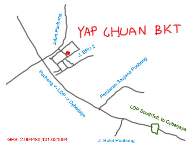 map to Yap Chuan Bak Kut Teh at Puchong