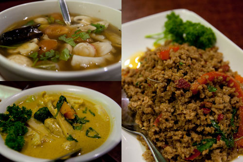 seafood tomyam, green curry, pork with basil leaves