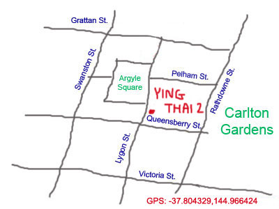 map to Ying Thai 2 at Lygon Street