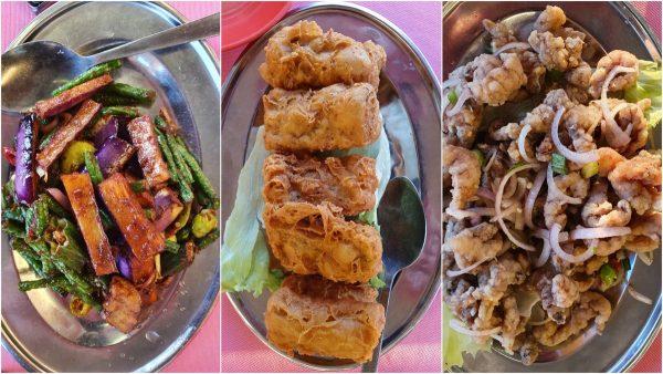 4 kingdom vege, seafood tofu, mantis prawns