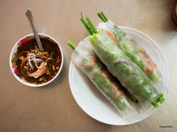 gui cuon, or Vietnamese spring role, with dipping sauce