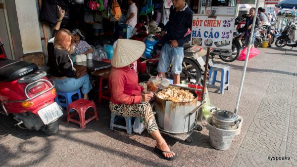 street side food vendor outside Ben Thanh market