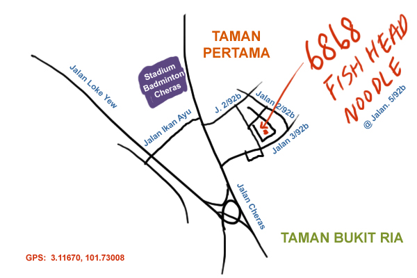 map to restaurant 6868 at Cheras