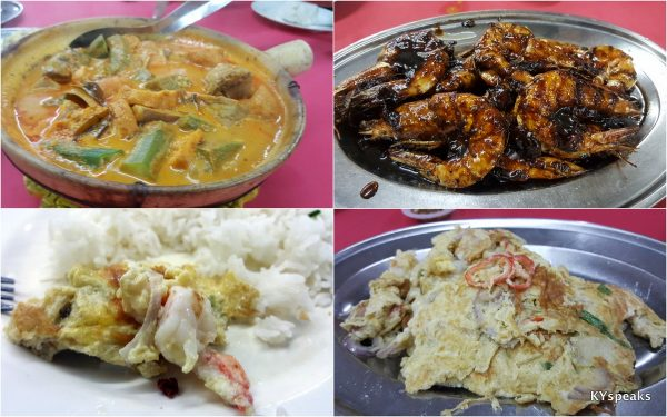 curry fish head, asam prawn, fuyung egg