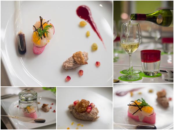 smoked scallop umai sushi, duck confit, Villa Maria Chardonnay, NZ