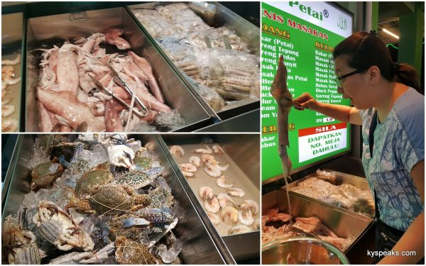 squid, prawns, crab, shellfish, and a variety of fish to choose from