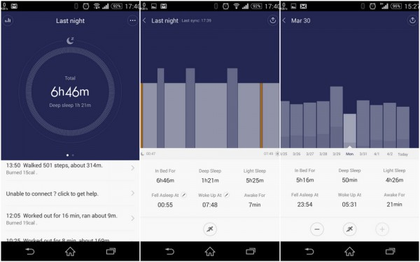 mi band sleep tracking