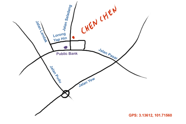 map to Chen Chen roast goose at Jalan Pasar