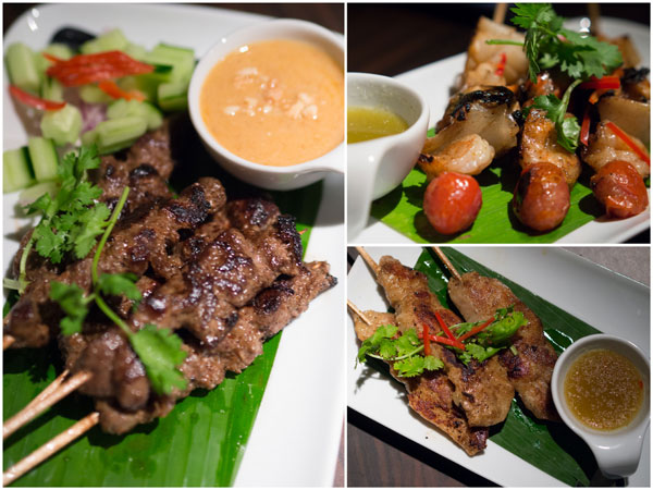 lamb, fish, and seafood sate