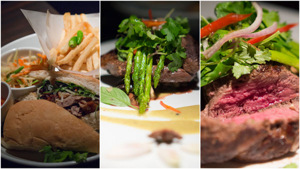 roast duck sandwich, grilled tenderloin with green curry