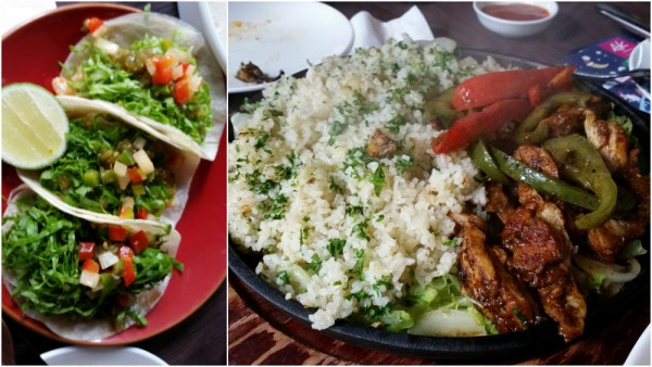 camaraones - sauteed prawn tacos, pollo a la parrilla (grilled chicken)