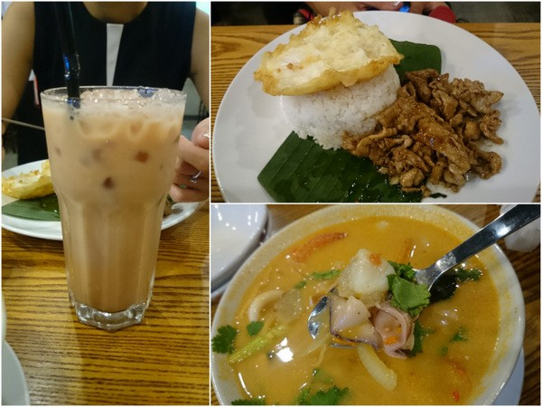 Thai ice tea, fried pork slices with egg, tomyam seafood