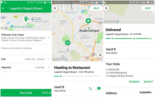 GrabFood - seeing your lunch coming towards you in real time!