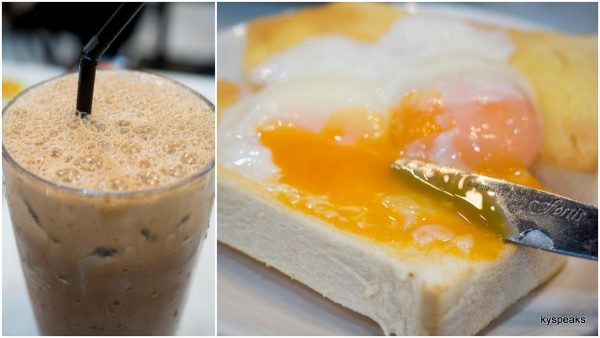 Ipoh white coffee, market street soft boil egg on toast