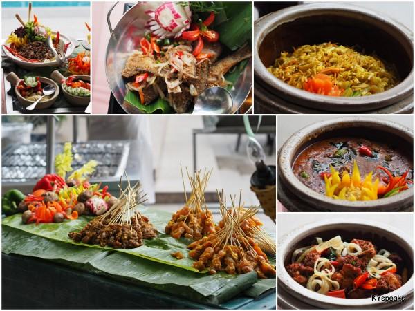 ulam, salted fish, sayur kubis goreng, satey, kari kambing, ayam goreng berempah