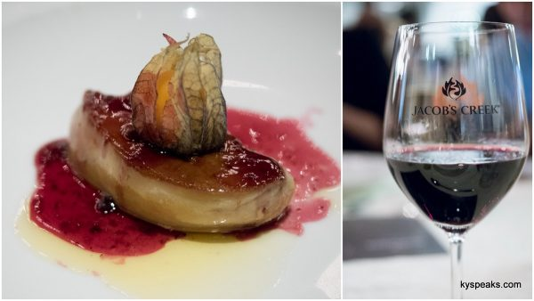 pan seared French foie gras, with Jacob's Creek Pinot Noir