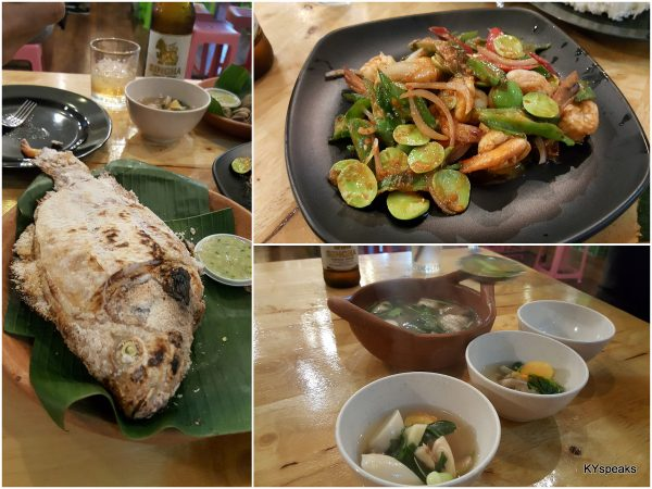 salt grilled tilapia, petai prawn, clear soup tomyam