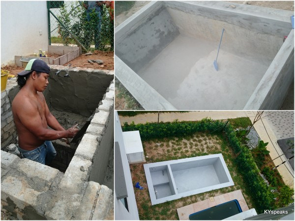 Kyspeaks ky s ken jimbaran house concrete koi pond for Concrete koi pond construction