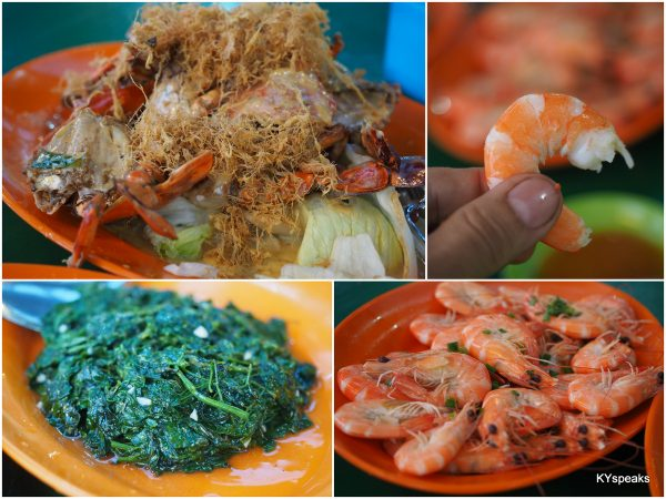 "butter crab, fresh prawns, and ""sabah vegetable"""