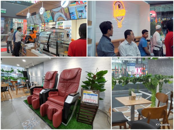 fresh food with proper seating area and even massage chairs