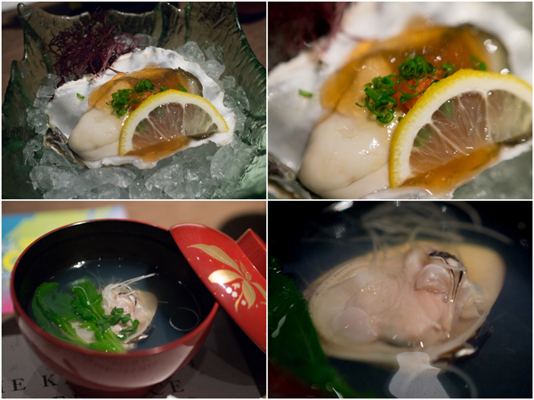 Fresh Oyster with Ponzu Vinegar Gelée, Clear Soup with Clam
