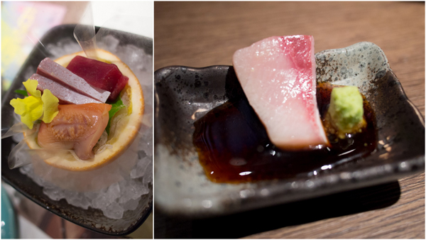 Slices of Raw Fish – Tuna, Ark Shell & Yellowtail