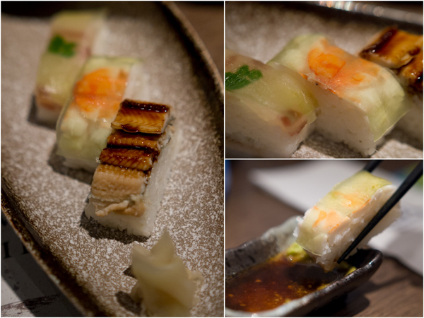 Boxed Sushi with Seabream, Prawn, & Conger Eel