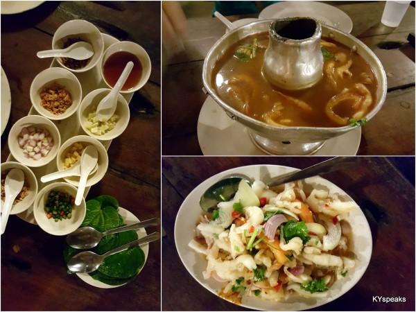 miang kham, seafood tomyam, chicken feet salad