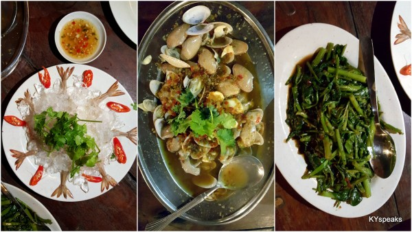 raw prawn salad, lala, kangkung belacan