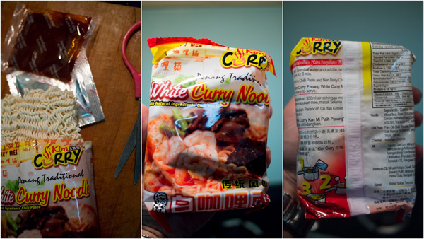 the packaging, with sambal paste and white santan flavored powder