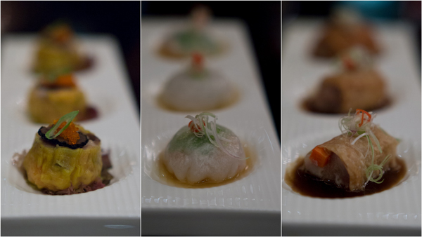 signature dimsum, including steamed prawn dumplings with truffle