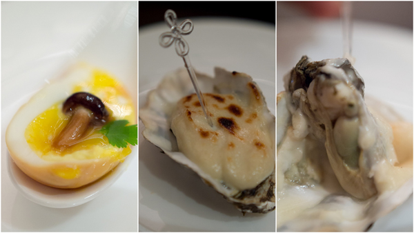 amuse bouche, Chinese style, egg and baked oyster