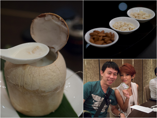 double boiled whole coconut with almond and snow jelly