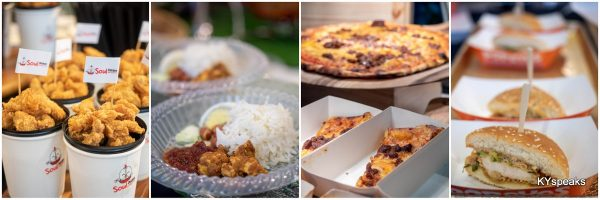 fried chicken, nasi lemak, pizza, burger
