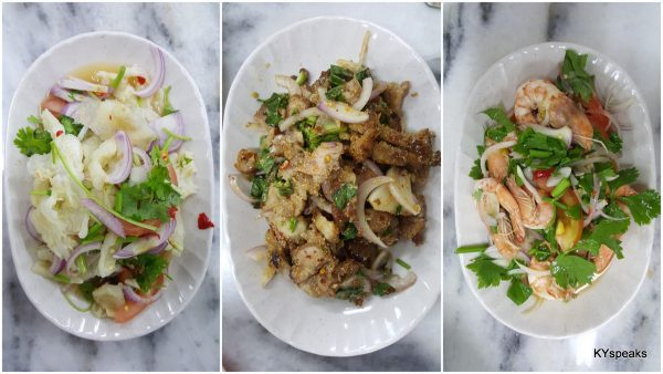chicken feet salad, nam tuk, prawn salad
