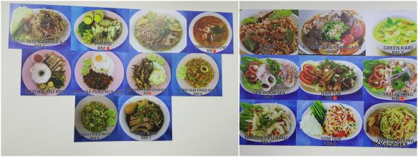 menu's on the wall, priced from RM 6-8 per dish