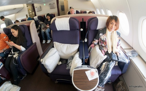 Business Class seats on board the A380, MH04