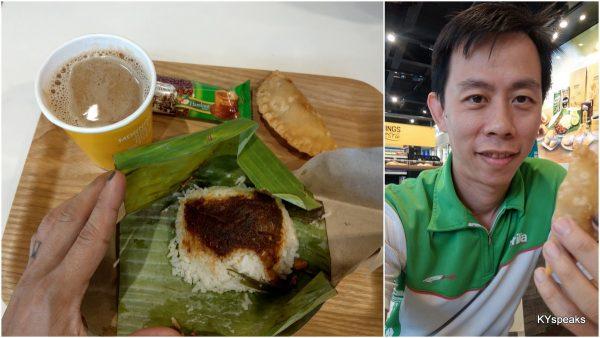 nasi lemak + karipap + drinks = RM 4.90