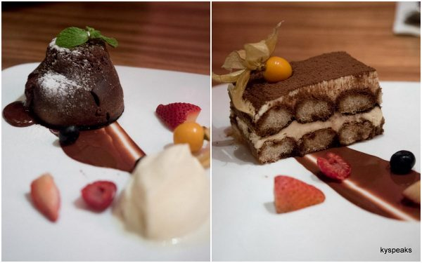 molten chocolate cake, tiramisu