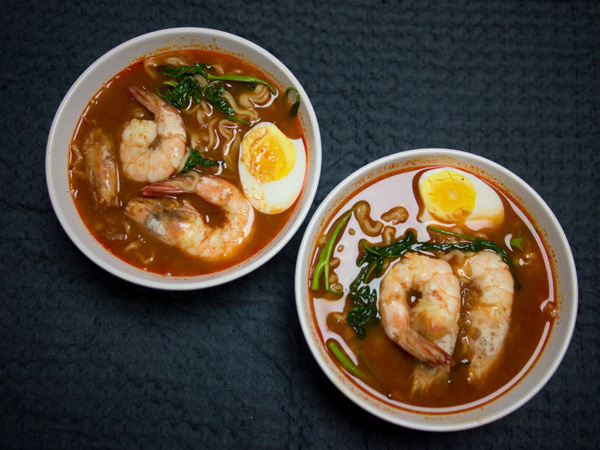 two bowls of MyKuali Penang Hokkien Prawn Mee ready to eat