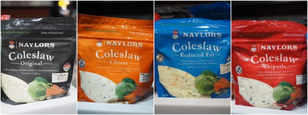 Four variants of Naylors Coleslaw