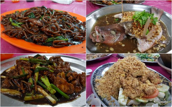 hokkien mee, steamed red snapper, ginger chicken, mantis prawn with oat