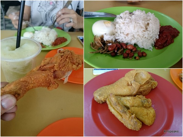 fried chicken and nasi lemak does go well together