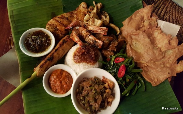 nasi campur, with beef, prawns, squid, fish, and more