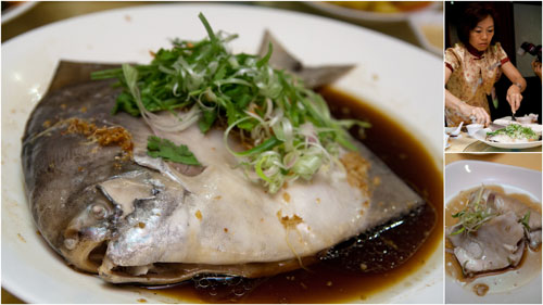 steamed pomphret with superior soya sauce