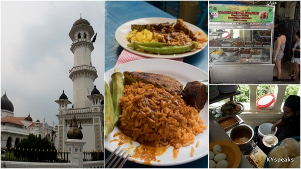 Masjid India, the oldest mosque in Penang, and the nasi kandar next to it