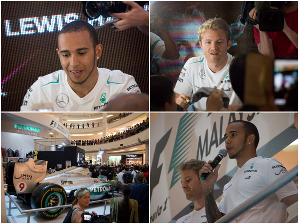 Lewis Hamilton and Nico Rosberg at KLCC concourse