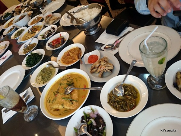 our lunch for 9 pax, with tunjang, ayam, ikan, and more