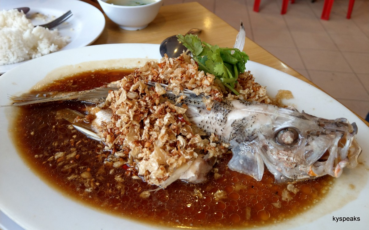 "red snapper, steamed with ""choi pou"""