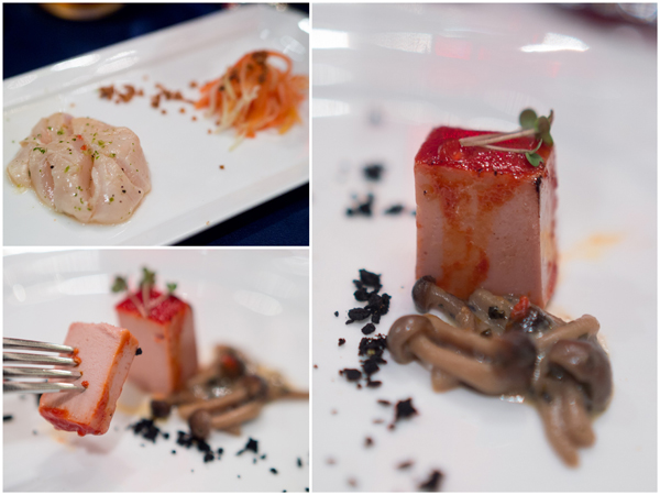 Ceviche scallop, foie gras cube with braised shimeiji mushroom